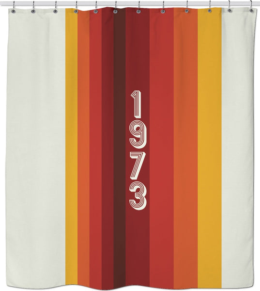 1973 Classic Stripes Custom Shower Curtain