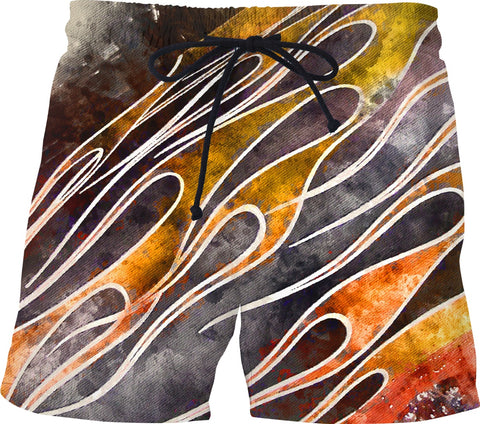 Water Color Flame Job Custom Swim Shorts