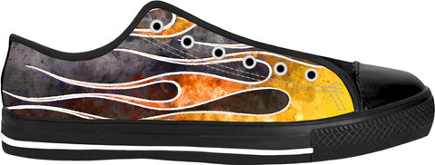 Water Color Flame Job Custom Black Low Tops