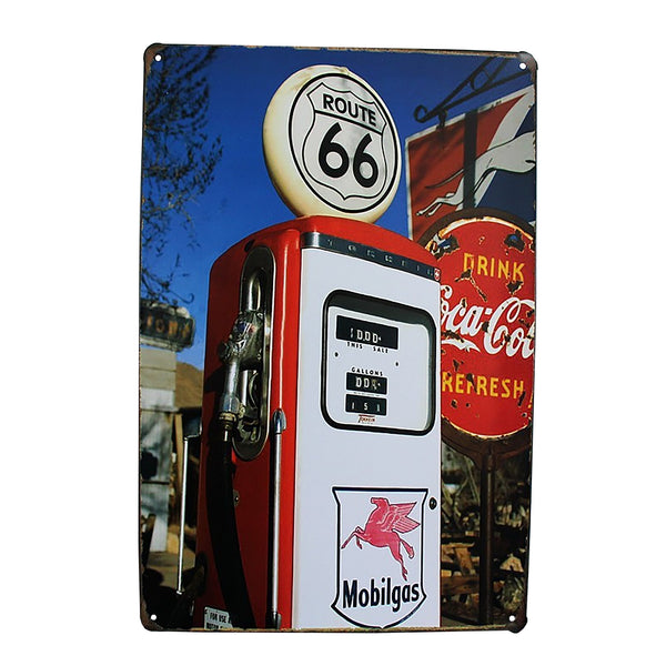 Route 66 Mobil Gas Pump Metal Sign