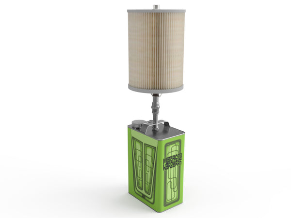 Green Pinstripe and Scallops Lamp
