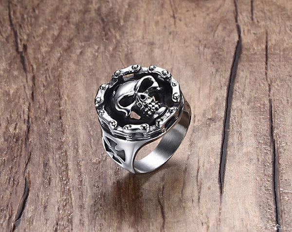 Skull Ring Stainless Steel Bike Chain