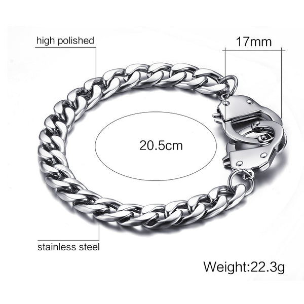 Mens Handcuffs Bracelet Stainless Steel