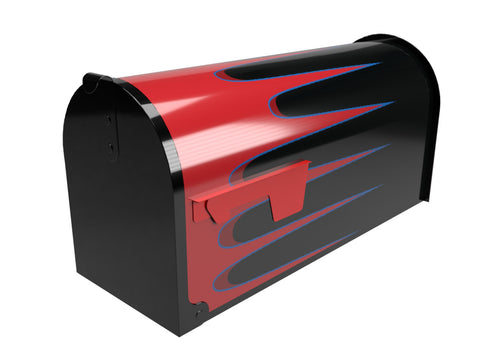 Blue Stripe Hot Rod Scallops Mailbox