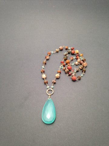 Heaven & Earth - Long Jasper Chain with Chalcedony