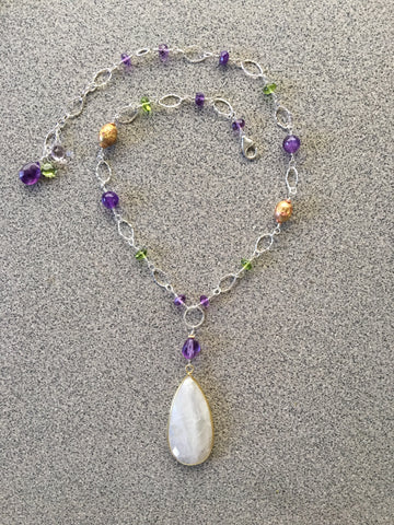 Rainbow Moonstone Lilac chain