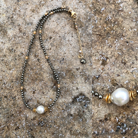 Pyrite & Pearl in Gold