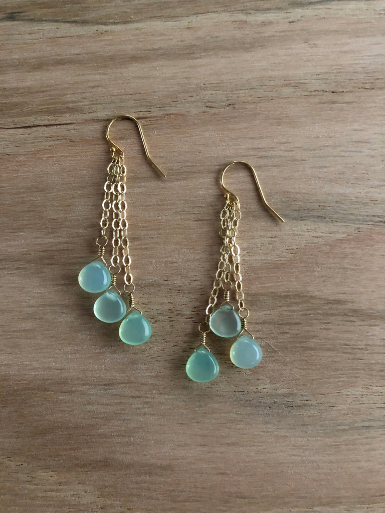 Chalcedony drops (also available in sterling silver)