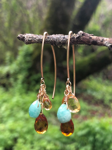 Blues & golds Amazonite curved bars