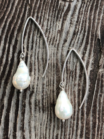 Baroque Pearls on a Curve - sterling silver