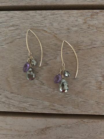 Pyrite & Amethyst Earrings