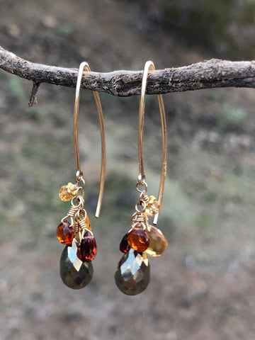 Citrine & Pyrite Earrings