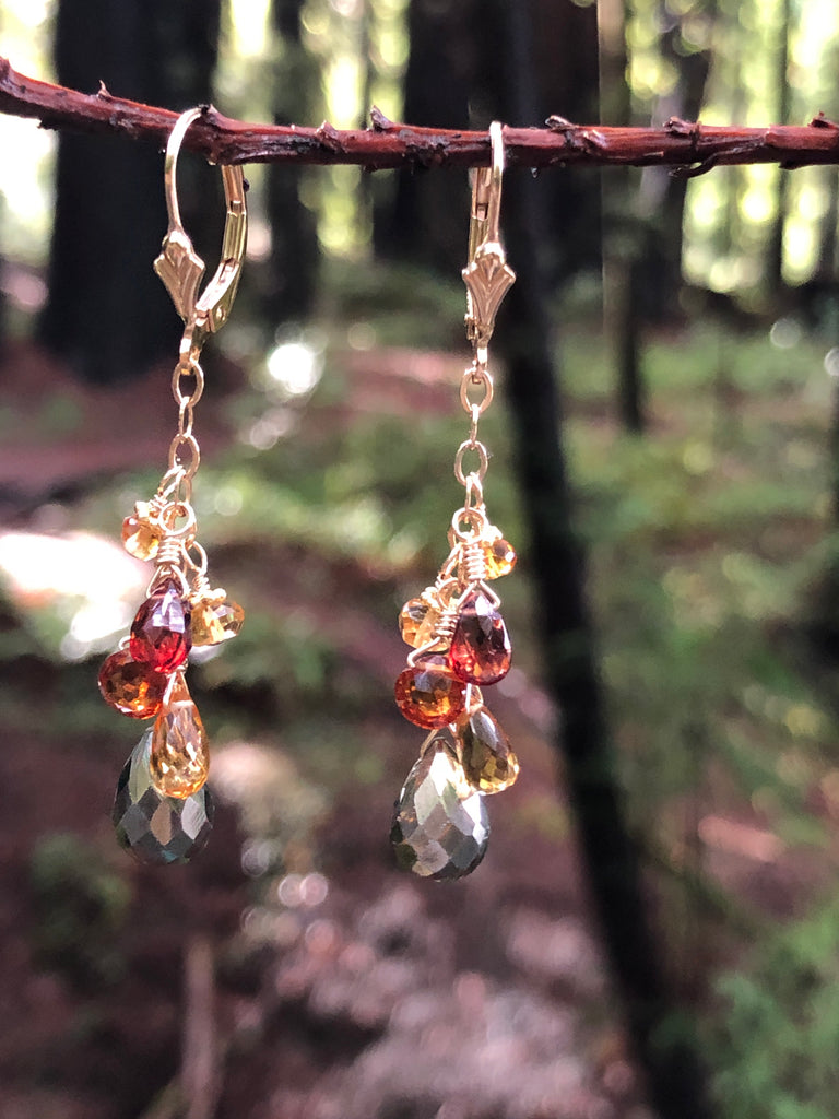 Citrine, Garnet & Pyrite Leverback Earrings