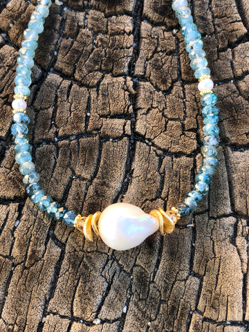 Baroque Pearl Blue Zircon