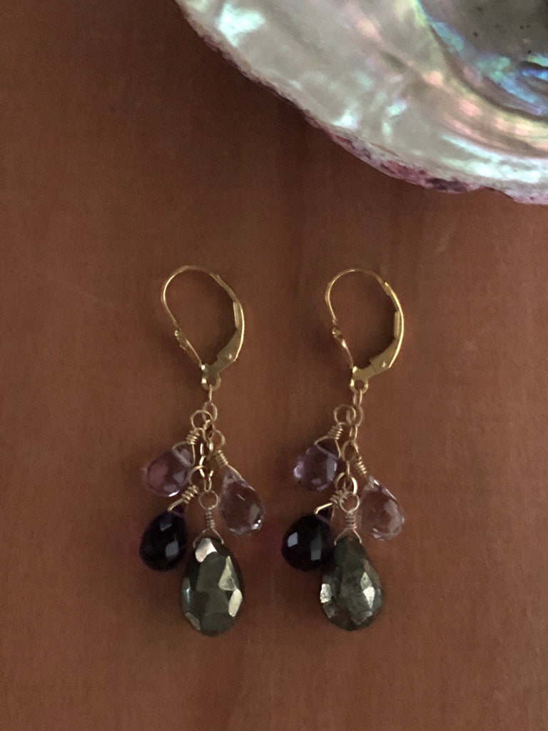 Pyrite & amethyst leverbacks