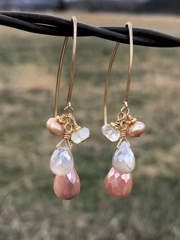 All for Love - Blush moonstones in gold