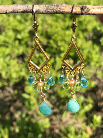 Blue Green Earth earrings