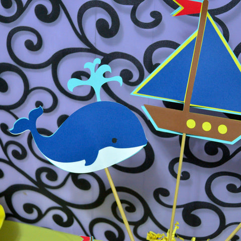 Nautical Theme Sailboat, Whale and Age 3pc Table Topper/ Centerpieces set.