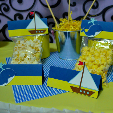 Nautical Theme Sailboat and Whale 10pc Thank you Party Favor Goodie Bags set .