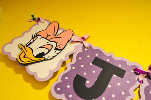 Daisy Duck Themed Happy Age (1st) Birthday Banner. Colors and age can be Customized