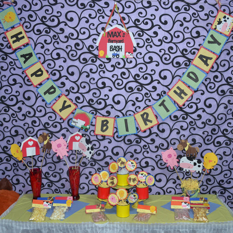 Down on the Farm Primary Color Birthday Party Package.