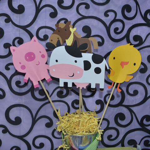 Down on the Farm Animal  4pc set Table Topper/ Centerpieces. Colors can be Customized