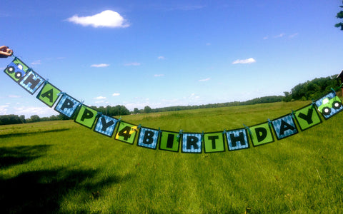 Monster Truck Happy Birthday Banner.