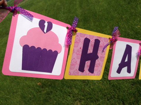 Sweet Treat Cupcake Happy Birthday Banner.