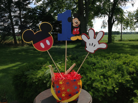 Mickey Clubhouse inspired Age Party 3pc Centerpiece  set.