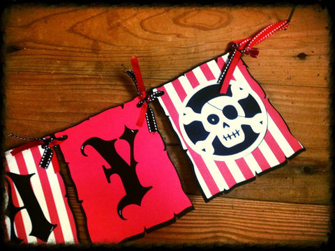 Pirate Ship and Skull themed Happy Birthday Banner