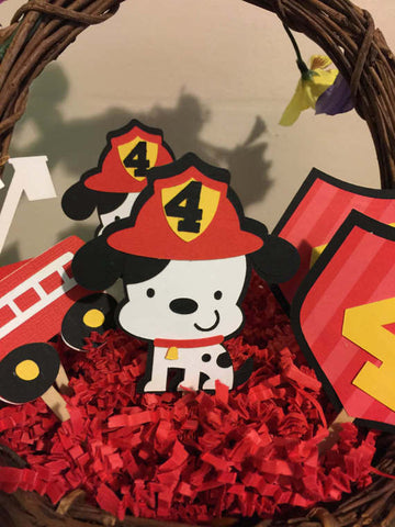 Fire truck and Dalmatian Cupcake toppers Customizable set of 12