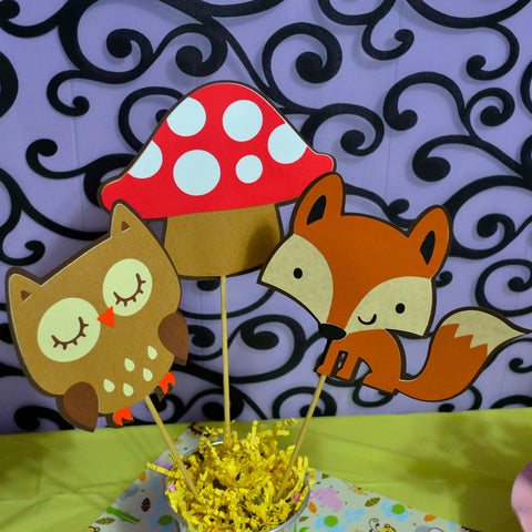 Wooodland Fox, Owl and mushroom 3pc Table Topper/ Centerpieces set.