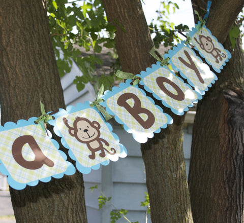 It's A Boy Monkey Themed Banner