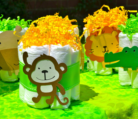 Mini Diaper Cakes table centerpieces in a Safari / Jungle Theme (Set of 6)