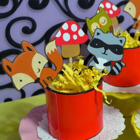 Woodland Animals ( raccoons,squirrels, owls and Fox and Mushroom 12pc set cupcake Toppers.