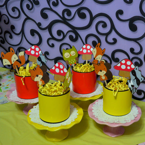 Woodland Animals and Mushroom Squirrel, raccoon, fox, Owl and Hedgehog Birthday Party Package.
