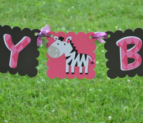 Zebra Hot Pink and Black Happy Birthday Banner