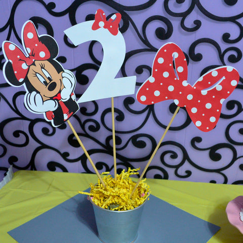 Minnie Mouse Age and Bow 3pc set Table Topper/ Centerpieces.