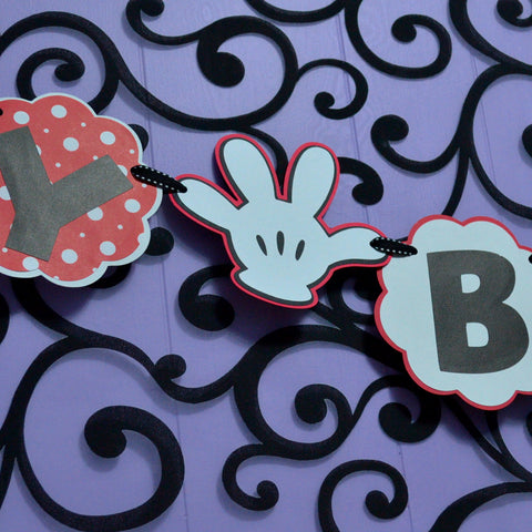 Minnie Red and White Polka Dot Happy Birthday Banner.