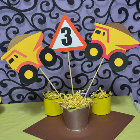 Dump truck Themed Table Topper / Centerpiece 3pc Set