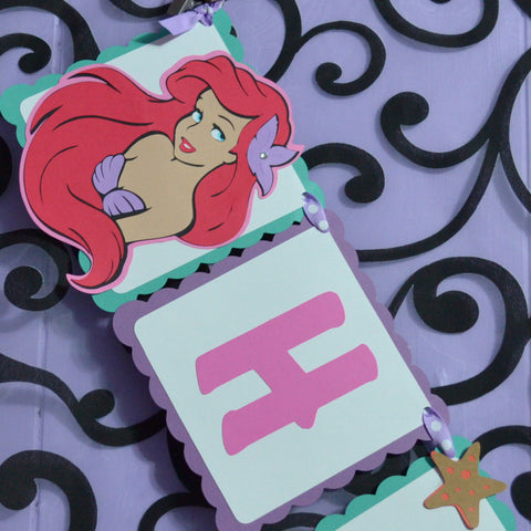 Ariel Under the Sea Little Mermaid Happy Birthday Banner Age included.