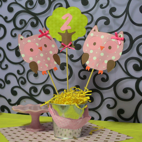 Girl Pink Owl and Tree 3pc Table Topper/ Centerpieces set.