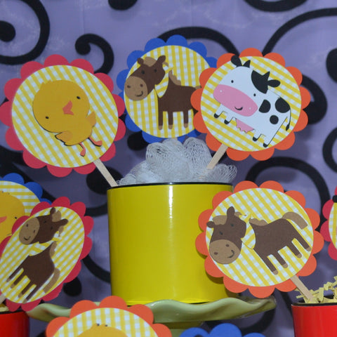 Down on the Farm 12pc set cupcake Toppers.
