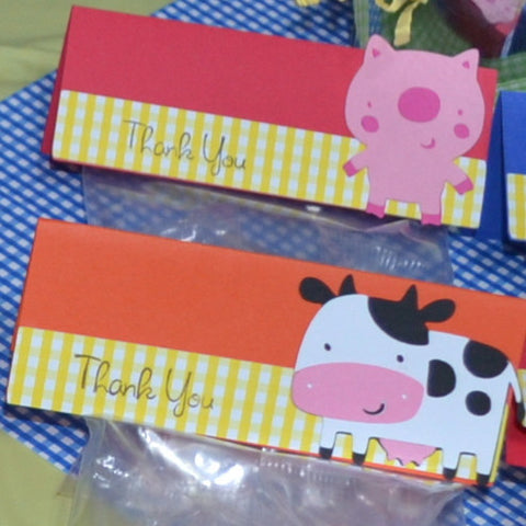 Down on the Farm Animal 10pc Thank you Party Favor Goodie Bags set .