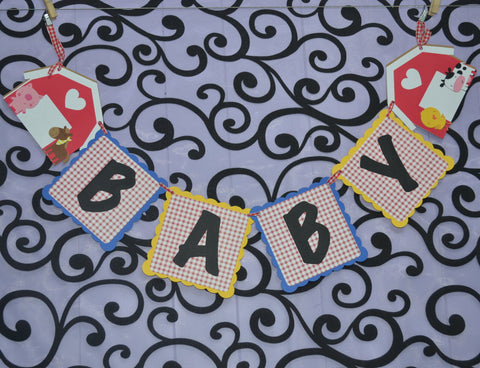 Down on the Farm Baby Shower Banner. Colors can be Customized