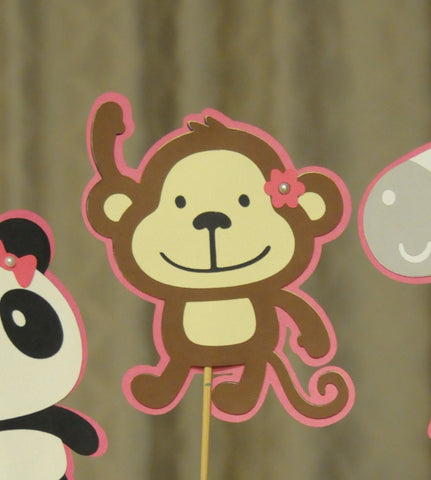 Girl Themed Zoo Animal ( 1 Zebra, 1 Monkey and 1 Panda ) Birthday Party Table Topper set