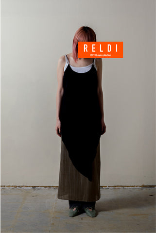 LAYERED SLIP DRESS WITH CRACK PATTERN / REL212-012