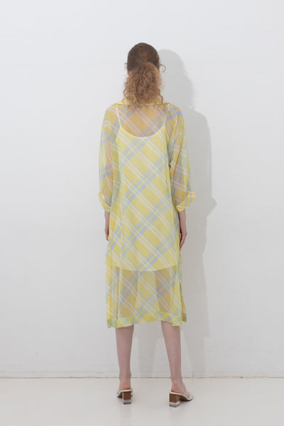 SHEER CHECKED MILITARY-DRESS 【REL201-007】