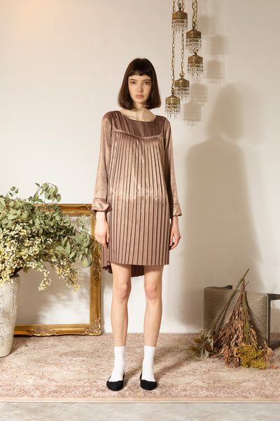 SHINE PLEATS TUNIC DRESS