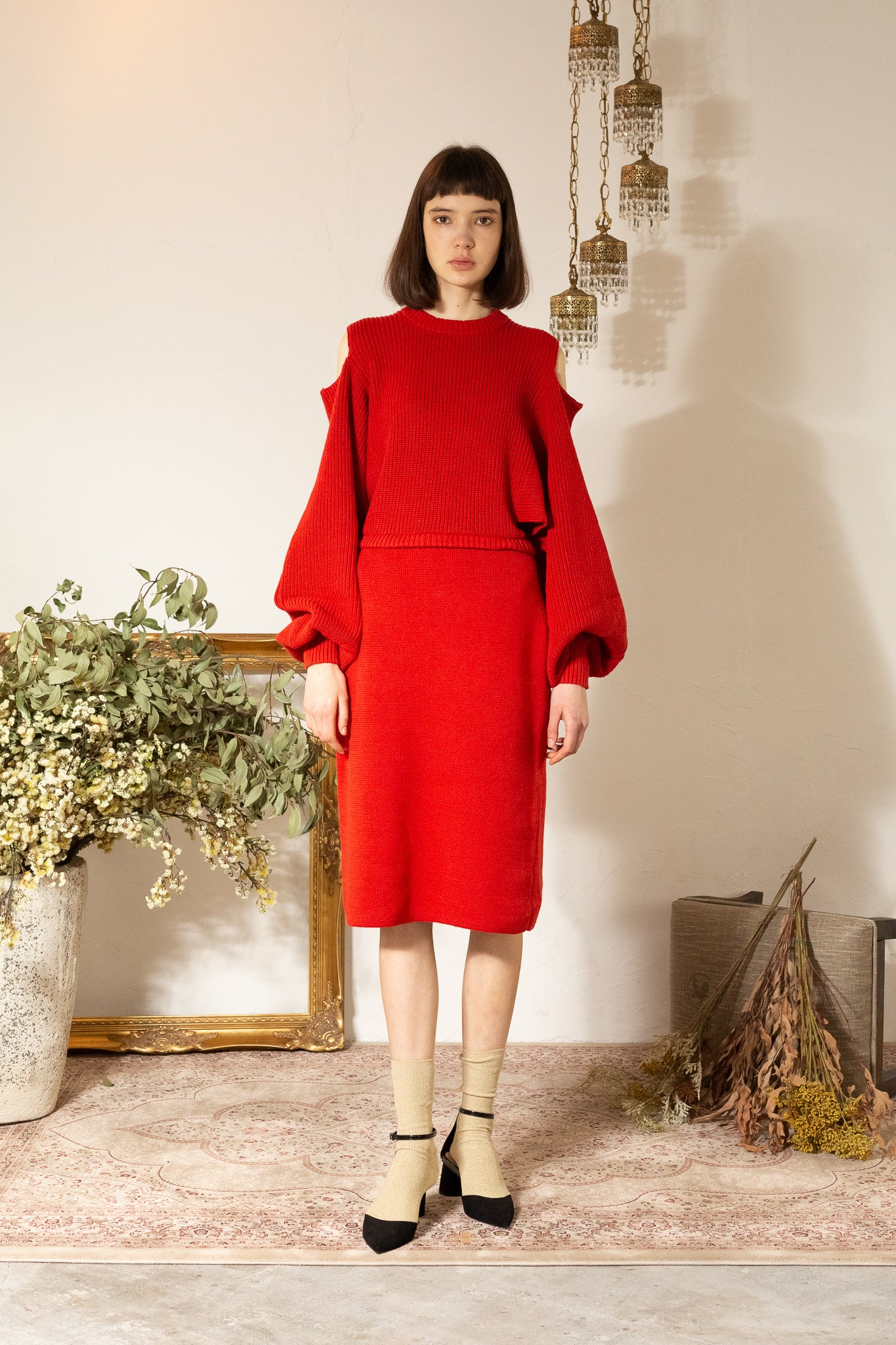 INCISION KNIT-DRESS